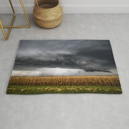 Corn Field - Storm Over Withered Crop in Southern Kansas Rug