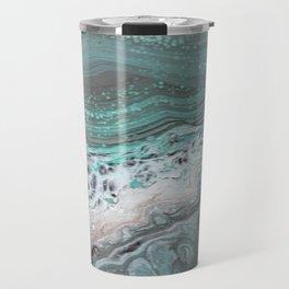 Teal Flow Abstract Acrylic Painting Travel Mug