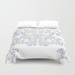 White Blue Floral Bouquet Duvet Cover