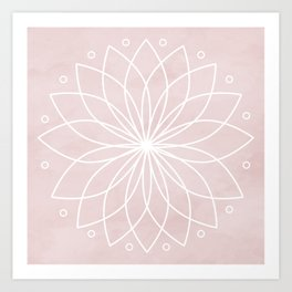 Mandala on Pink Watercolor Background Art Print