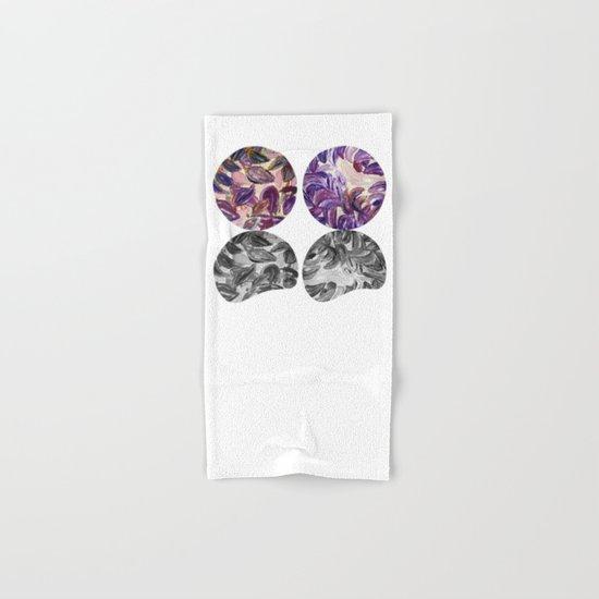 DRIP DRIP DRIP Purple Leaves Shadow Black and White Hand & Bath Towel
