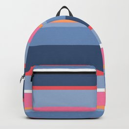 70s Style Simple Colored Stripes - Blues  Pinks Peach Backpack