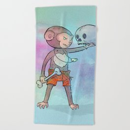 Monkey Pirate Beach Towel