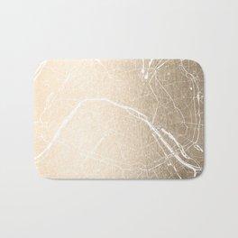 Paris France Minimal Street Map - Gold on White Bath Mat