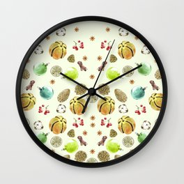 Christmas pattern. New Year decoration Adornment coniferous green with cones, balls, berries, citrus Wall Clock