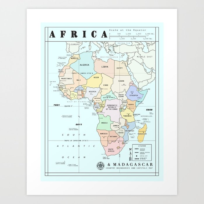 Africa Madagascar Atlas Inspired Map Art Print By