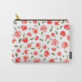 Red Roses Watercolor // Hand Painted Watercolor Floral // Rose Red and Leaf Green Carry-All Pouch