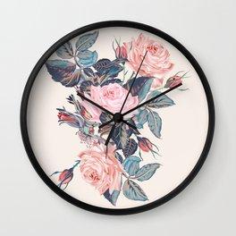 Botanical vector rose illustration in vintage style Wall Clock