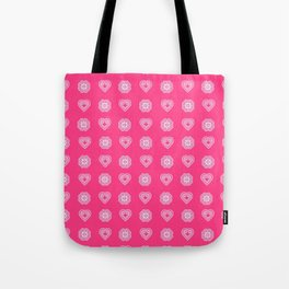 Pink heart and elephant Hmong symbols Tote Bag
