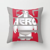 big hero 6 Throw Pillows featuring Baymax - Big Hero 6 by Nguyen