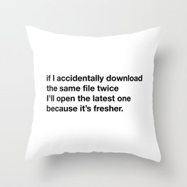 Downloading things. Throw Pillow
