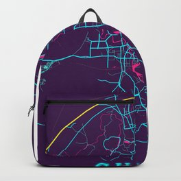 Guilin Neon City Map, Guilin Minimalist City Map Art Print Backpack