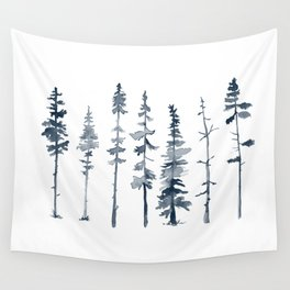 Navy Trees Silhouette Wall Tapestry
