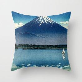 Tsuchiya Koitsu - Mount Fuji and Shoji Lake - Japanese Vintage Woodblock Ukiyo-E Throw Pillow