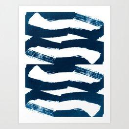 Indigo Blue Ink Boho Tribal Pattern Art Print