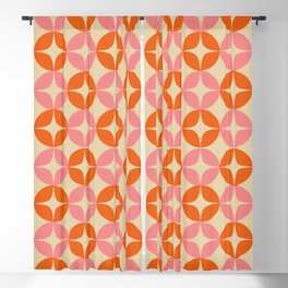 Mid Century Modern Pattern in Pink and Orange Blackout Curtain