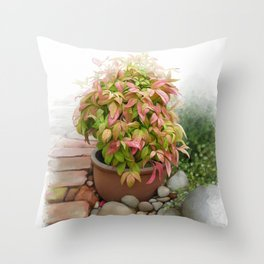 Leaves and Dew Throw Pillow