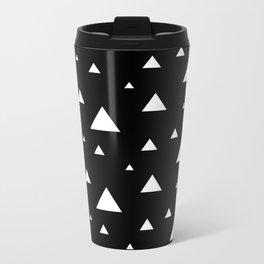 Black with White Triangles Metal Travel Mug