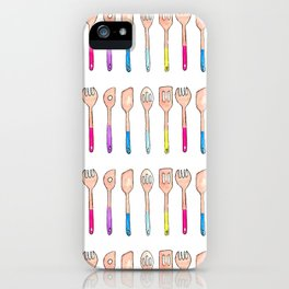 Spoons illustration, Kitchen art, home cooks, chef art iPhone Case