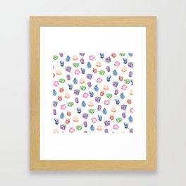 Watercolor Crystal Gems Framed Art Print
