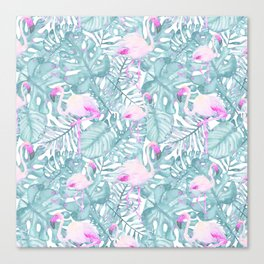 Neon pink green watercolor flamingo tropical leaves Canvas Print