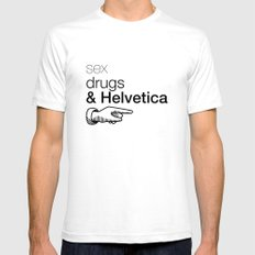Sex, drug & Helvetica SMALL Mens Fitted Tee White