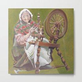 Old Irish Woman Sitting At A Spinning Wheel Metal Print