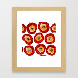 Irregular Red Circles with Black Cross Hatch Yellow Orange and Black Center. Framed Art Print