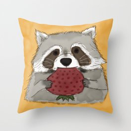 Strawberry Racoon Throw Pillow