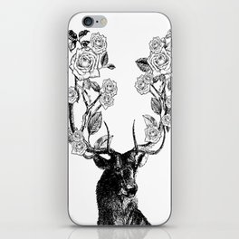 The Stag and Roses | Black and White iPhone Skin