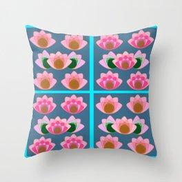 Pink lotus field Throw Pillow