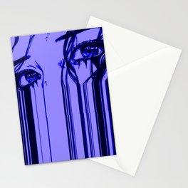 Sad anime aesthetic - blue sadness Stationery Cards