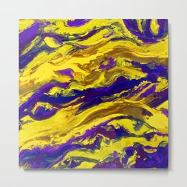 OIL ABSTRACT PAINTING - PLAY OF YELLOW AND BLUE Metal Print