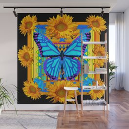 Golden Sunflowers Blue Butterfly black Art Wall Mural