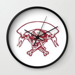 Skull Bike Helmet Crossed Bones Ribbon Retro Wall Clock