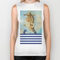 sea horse Biker Tanks featuring Sea horse by Nataliya Derevyanko