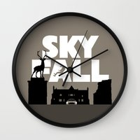 skyfall Wall Clocks featuring SKYFALL by Vector Vectoria