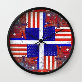 Grungy Vintage Abstracted Dragonfly-Flag 4th of July Art Wall Clock