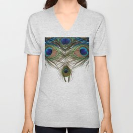 BLUE-GREEN PEACOCK FEATHERS WHITE ART Unisex V-Neck