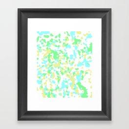 Blue, Yellow, and Green Mosaic Framed Art Print