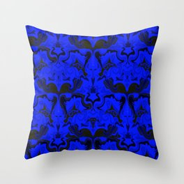 Creatures from the Blue Regal Abstract digital textured pattern Throw Pillow