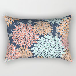 Floral Prints and Leaves, Coral, Navy Blue, Peach, Gray, Aqua Rectangular Pillow