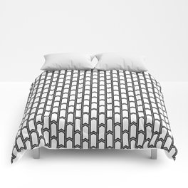 Black and white Geometric pattern with small gray arrows Comforters