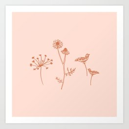 Wildflower Line Art Art Print