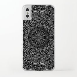Zen Black and white mandala Sophisticated ornament Clear iPhone Case