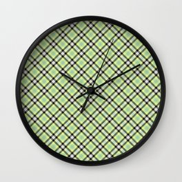 Lime Plaid Rug Pattern Wall Clock