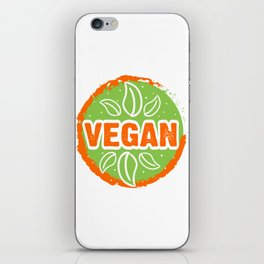 Go Vegan, green and orange, circle iPhone Skin
