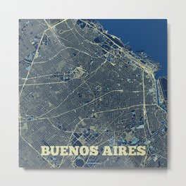 Buenos Aires Street Map Metal Print