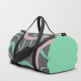 Threaded 2, an abstract drawing of pink, blue and mint green threads intersecting Duffle Bag
