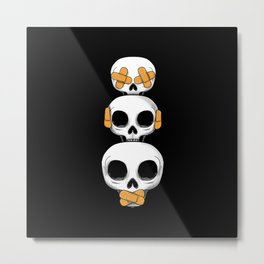 Cute Skulls No Evil II Metal Print